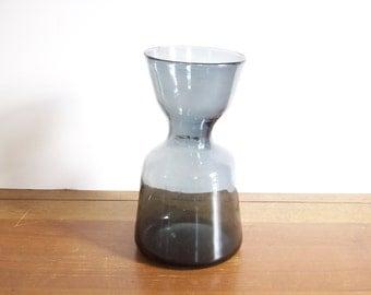 Modern Hand-Blown Vintage Glass Vase, Navy Blue
