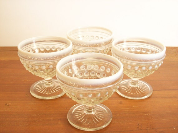 Moonstone Hobnail Depression Glass Sherbet Cups