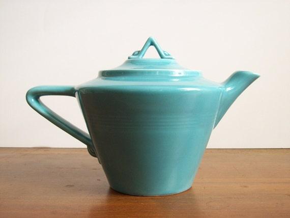 Harlequin Teapot  Turquoise Fiesta