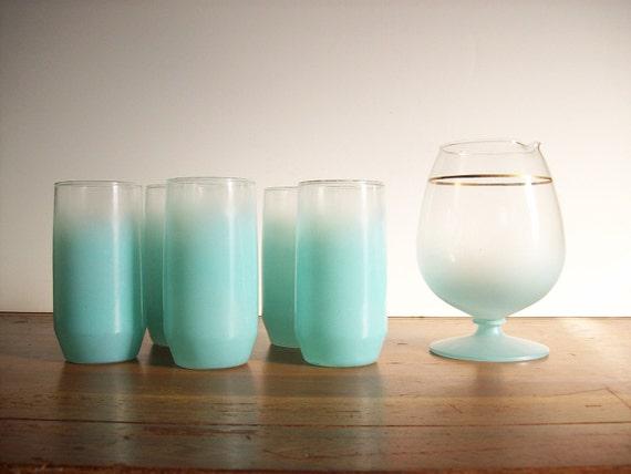 Aqua Blendo Cocktail Set - Vintage Barware