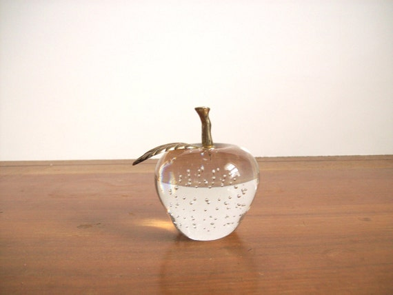 RESERVED FOR MITHRA  Vintage Glass Apple Paperweight