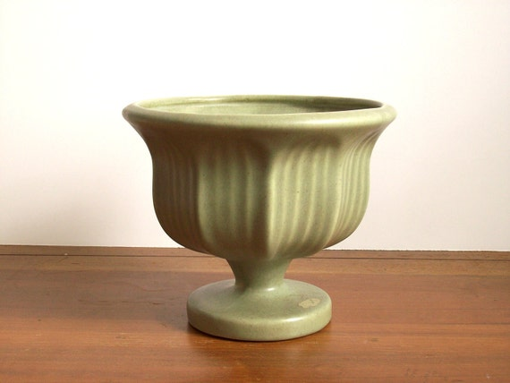 Vintage Pottery Planter, Olive Green, Haeger, Large