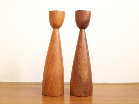Mid Century Modern Candlesticks, Wooden