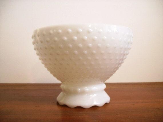 Hobnail Milk Glass Planter