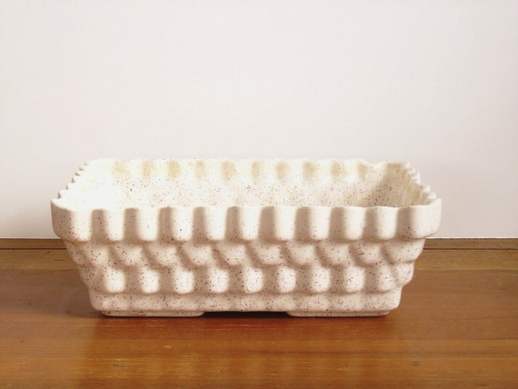 Mid Century Pottery Planter, Cream Speckled Glaze, Mod Design