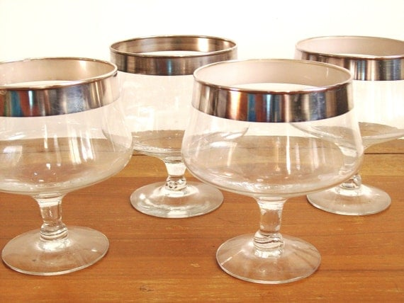 Silver Band Cocktail Glasses, Brandy Snifters, Set of Four, Dorothy Thorpe or Mad Men Style