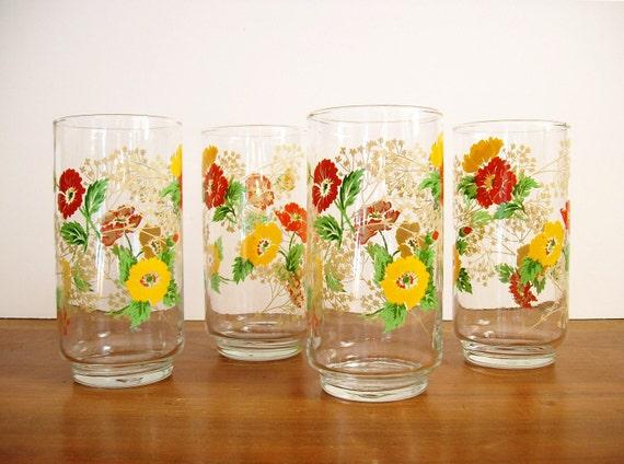 Retro Floral Glasses, Tumblers, 1970s