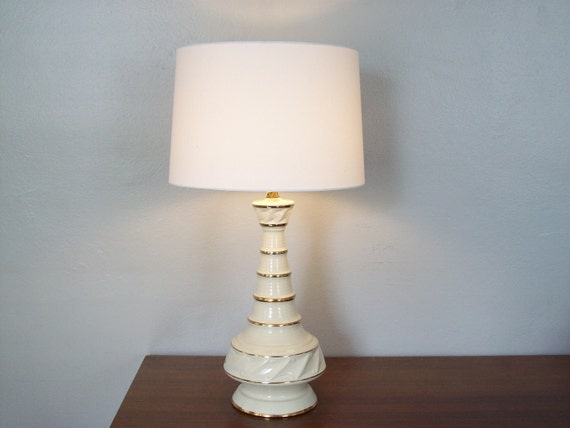 Mid Century Lamp, Ivory and Gold