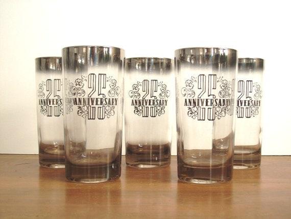 Silver Ombre Glasses, Barware, 25th Anniversary, Mad Men Style