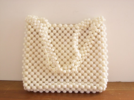 Vintage Beaded White Handbag, Purse
