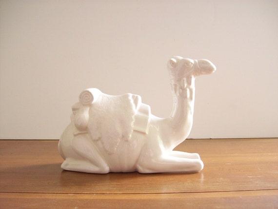White Ceramic Camel Figurine, Statue, Hollywood Regency