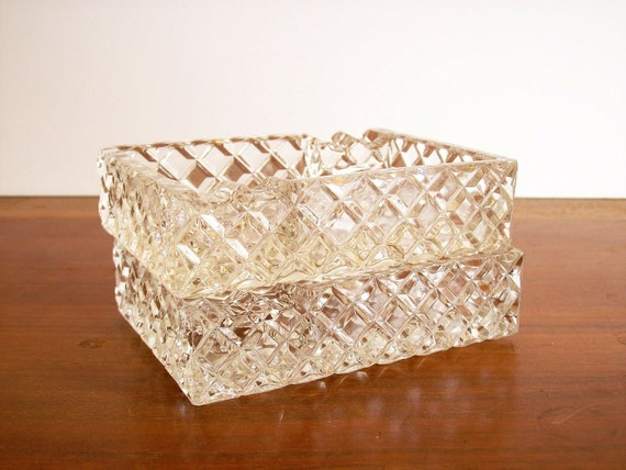 Vintage Crystal Dish, Set of Two, Mad Men Style