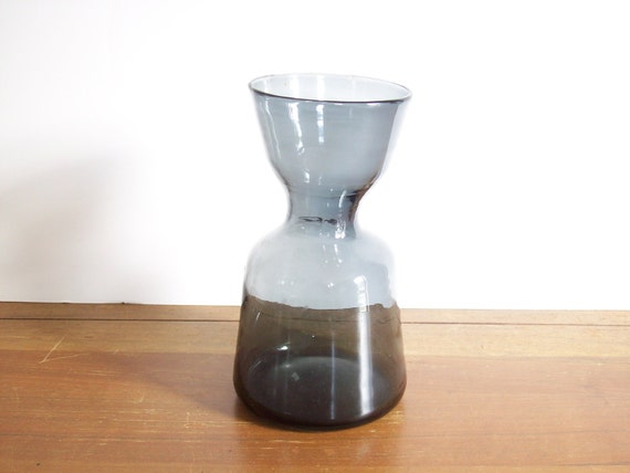 RESERVED FOR SH.  Modern Hand-Blown Vintage Glass Vase, Navy Blue