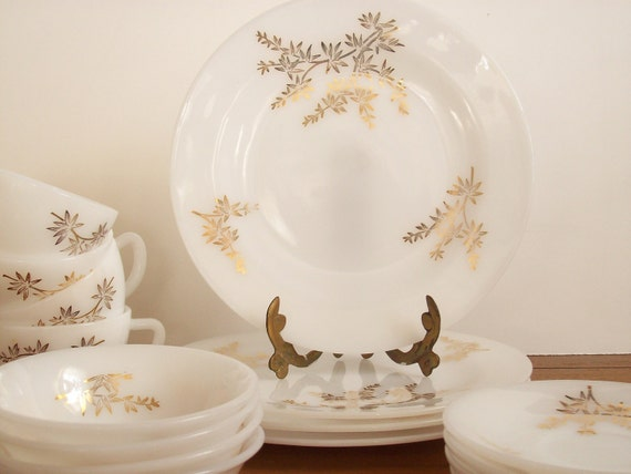 RESERVED FOR KIM.  Hollywood Regency Dinnerware, China, Gold Bamboo Motif, Federal Glass, Golden Glory