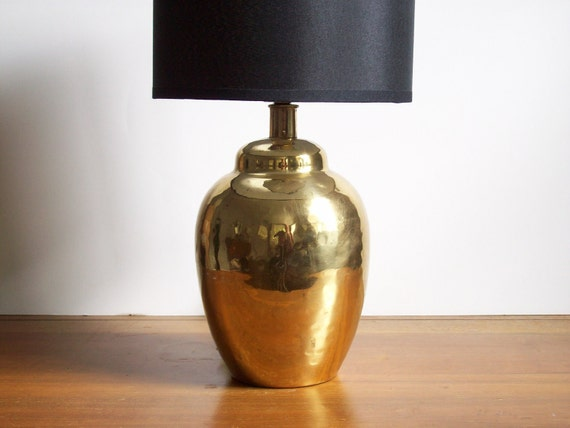 Small Brass Lamp, Vintage, Hammered Brass, Hollywood Regency