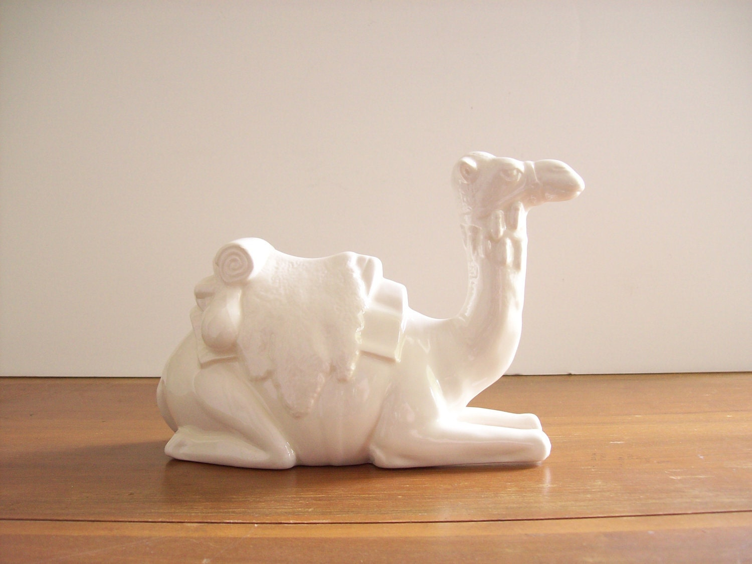 White Ceramic Camel Figurine Statue Hollywood Regency