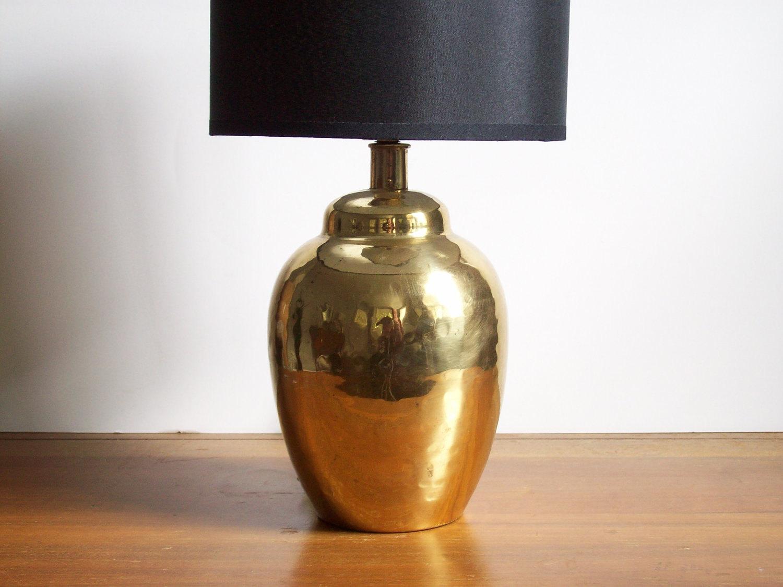 Small Brass Lamp Vintage Hammered Brass Hollywood Regency