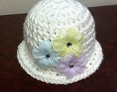 Pattern NO. 19 -  Crochet Kentucky Derby Hat - 4 sizes, 0-24 months included - Crochet Beanie Hat Pattern - Crochet Beanie Pattern