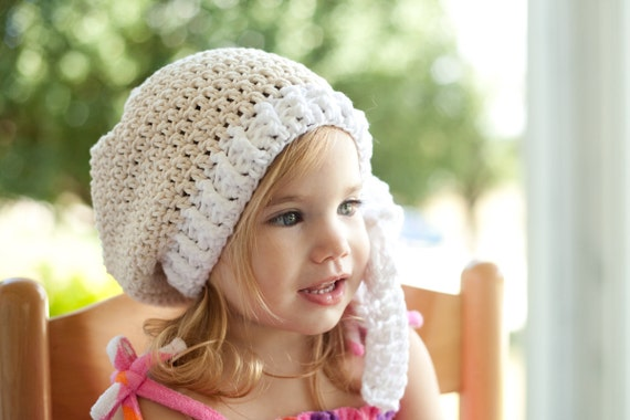 The Emileigh Slouchy, Crochet Cream and White Slouchy with White Bow, Hat, Beanie (Toddler, Child, Adult sizes) MADE TO ORDER