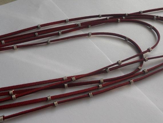 Rockstar Suede Necklace in Burgundy Red