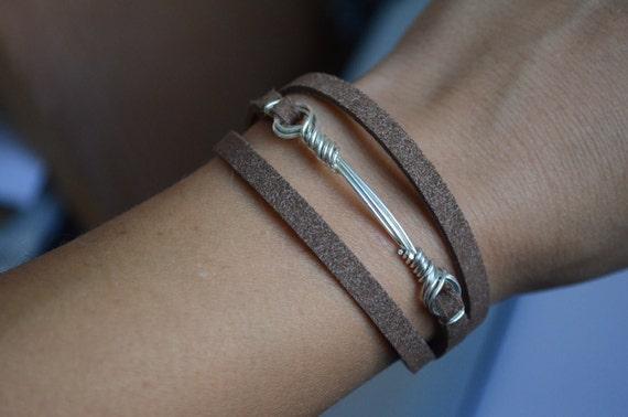 Urban Cowboy Rocker Bracelet in Sterling Silver and Suede