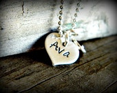 Tiny Hand Stamped Sterling Silver Heart Nacklace's with Inspirational Word or a Name or Initial and Birthstone