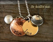 Handstamped Mixed Metal Layered Necklace with Freshwater Pearl