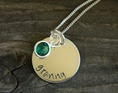 Personalized Handstamped Sterling Silver Disc with Swarovski Birthstone