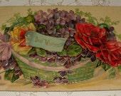 Vintage Flower Basket Postcard - Best Wishes