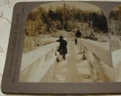 Griffith & Griffith REAL PHOTO Stereoview Card - Children on snowy bridge - Niagara Falls, NY