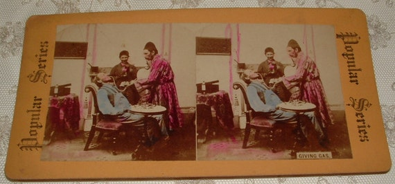 Popular Series REAL PHOTO Stereoview Card - Dentist Giving Gas