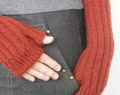 SALE Hand knit  women mittens terracotta for her brown rustic