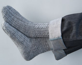 Hand knit socks Mens knit socks Wool knit socks Hand knit mens socks Winter mens socks Valentine's Day gift Mens gift MADE TO ORDER