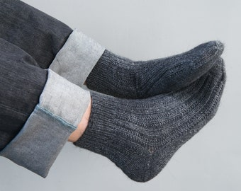 Hand Knitted Wool Socks man for him dark gray grey urban - made to order