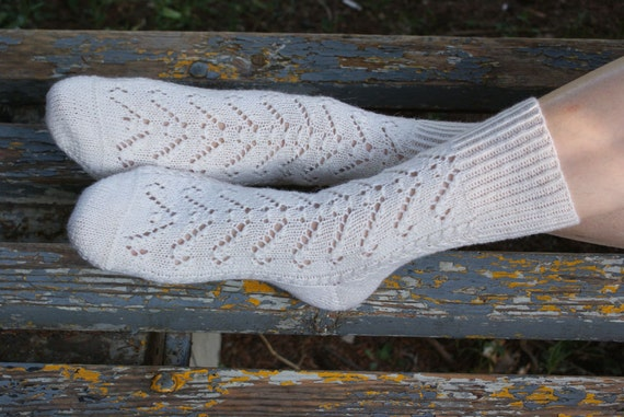 Hand knitted women fishnet wool Socks Vectors merino wool white high rustic snow winter