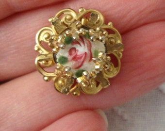Hand Painted Rose on Glass - Fleur de Lis Setting - Vintage Brooch - circa 1940's