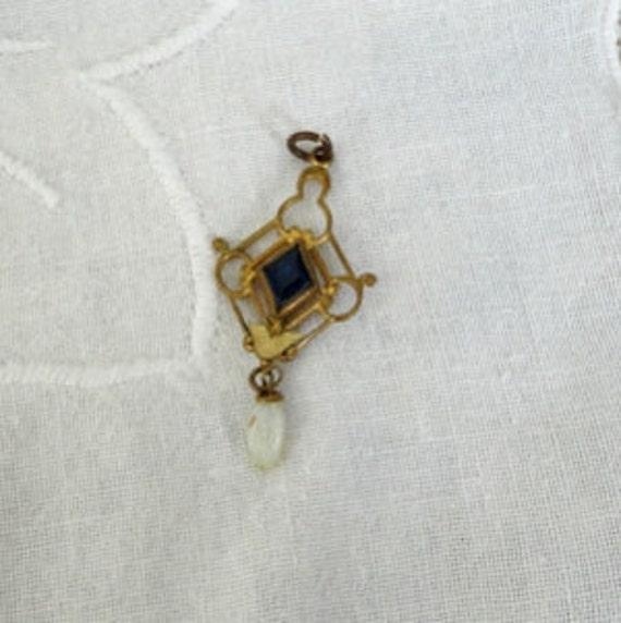 Rare Antique Gold Lavalier Pendant With Sapphire- Late 1800's - Art Nouveau Design