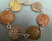 Coin Bracelet Australia,Trinidad and Tobago, Austria, New Zealand, Denmark, Spain