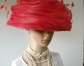 "Modern ""Audrey Hepburn"" Large Vintage Straw Bucket Hat with Feathers Plus Original Hatbox"