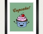 Cupcake Poster / Kitchen Print - 8x10 Art Print