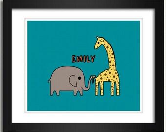Personalized Nursery Print / Nursery Poster / Personalized Name - Playful Elephant and  Giraffe - 8x10 Art Print