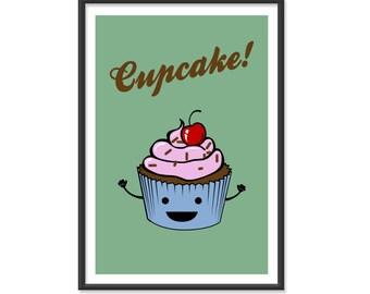 Cupcake Poster / Kitchen Print - 13x19 Art Print or 8x10 Art Print - Baking / Adorable Cupcake Sign