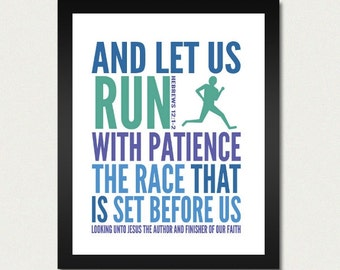 Bible Print / Scripture Poster / Christian - Let us Run with Patience The Race - 8.5x11 Art Print