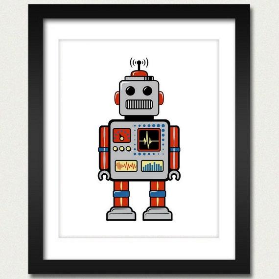 Robot Print / Robot Poster / Retro Robot - 8x10 Art Print