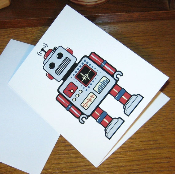 Retro Robot Card - Card with Envelope