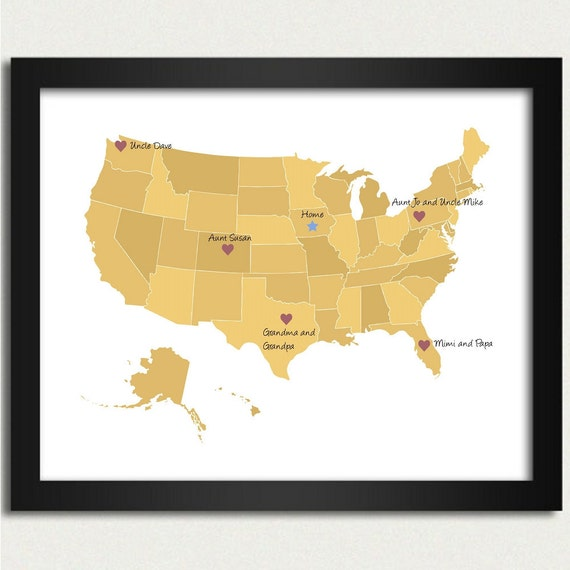 United States Map / Personalized Map in Yellow - Family Is Where the Heart Is - 8x10 Art Print