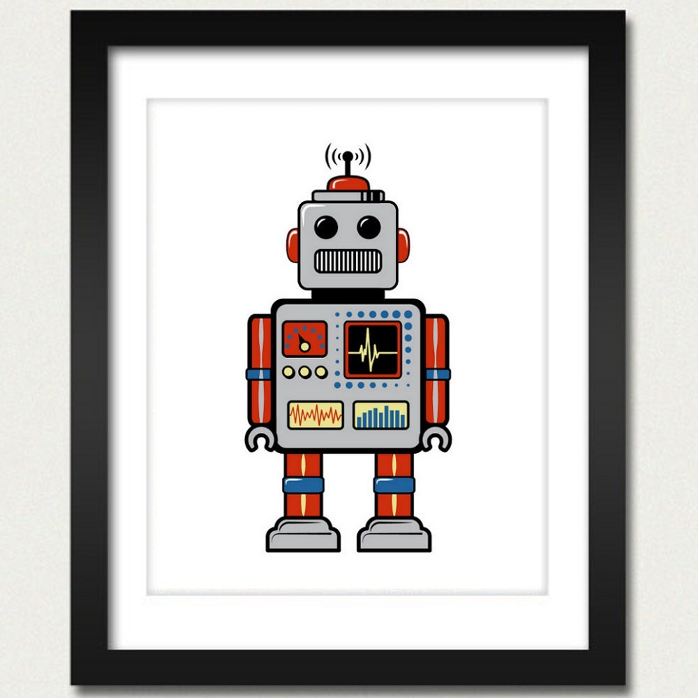 Poster Weights Etsy: Robot Print / Robot Poster / Retro Robot 8x10 By Happylandings