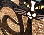 Black Cat Sitting In Crescent Moon Stained Glass
