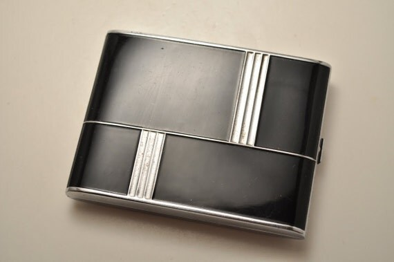 Vintage Evans Art Deco Black Cigarette Case