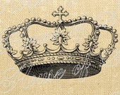 Crown Cross King Queen Royal Vintage Download Graphic Image Art Transfer burlap tote tea towels Pillow French Gift Tag Digital Sheet 1016